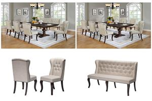 Espresso Dining Set with Beige Linen Upholstery