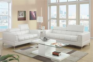 White Sofa and Loveseat Set F7240,f7240 poundex