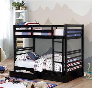 California IV Twin/Twin Bunk Bed w Storage Drawers Black Color CM-BK588T-BK