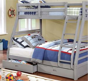 California III Twin/Full Bunk Bed with 2 Drawers CM-BK588GY,cm-bk588gy bunk bed,grey bunk bed