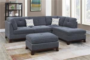 Ash Grey Reversible Sectional with Ottoman F6479, f6479 poundex
