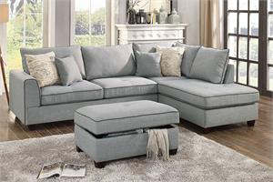 Reversible Sectional Sofa Poundex F6543,f6543 poundex