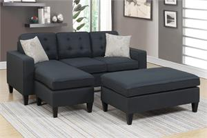 Black Reversible Sectional Poundex F6575,f6575 poundex