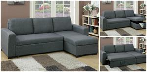 Blue Grey Sectional with Pull-Out Bed F6931 Poundex,f6931 poundex