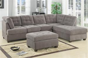 Poundex F7139 Charcoal Waffle Suede Reversible Sectional ,poundex f7139