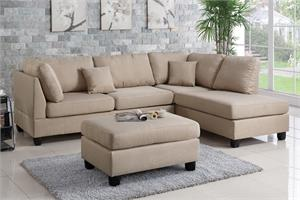 Sectional Sofa with Ottoman Poundex F7605,f7605 sectional