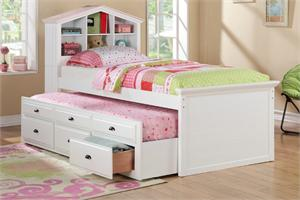 White Bookcase Twin Bed with Trundle F9223,F9223 poundex,white twin bed,white bookcase bed