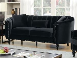Linnea Black Sofa Set Collection,cm6632bk,cm6632 furniture of america, cm6632 sofa